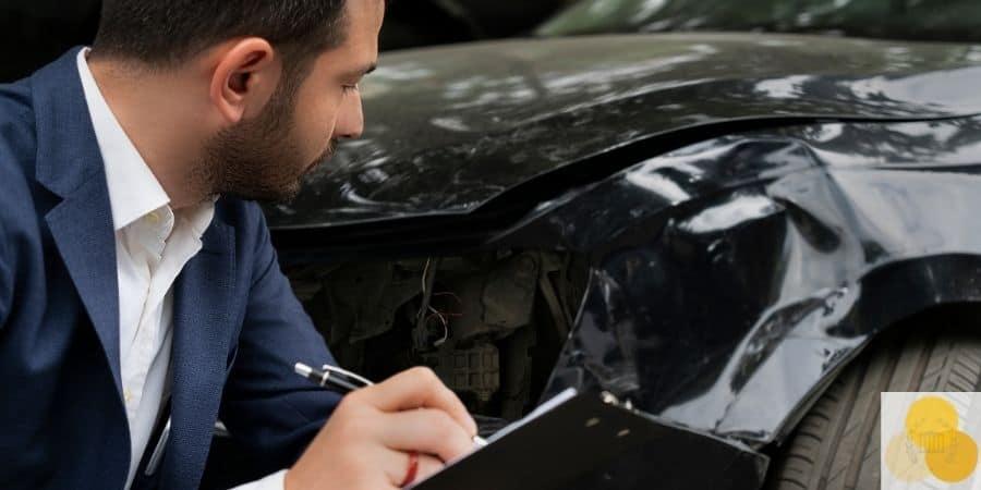 Man taking notes at side car crash