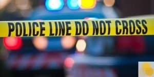 police do not cross line at car crash